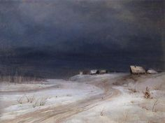Winter Landscape, painting by Aleksey Savrasov 1880 - winter painting 1 Winter Painting, Winter Art, Winter Night, Russian Painting, Russian Art, Abstract Landscape, Landscape Paintings, Russian Landscape, Winter Landscape