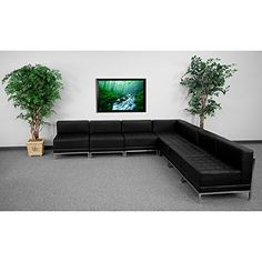 Flash Furniture ZBIMAGSECTSET6GG 7 Pieces Hercules Imagination Series Black Leather Sectional Configuration * You can get additional details at the image link.Note:It is affiliate link to Amazon.