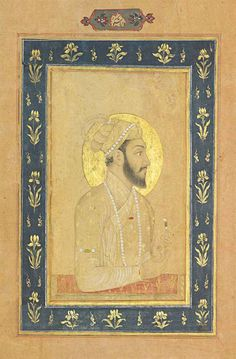 DARA SHIKOH  DARA SHIKOH MUGHAL INDIA, CIRCA 1660-70 Tinted drawing heightened with gold on paper, a bust portrait of the nimbate prince, who is depicted wearing gold embroidered robes and turban, a string of pearls on each, in his left hand he holds an emerald, laid down between polychrome rules and wide blue border decorated with gold irises on a wide pink margin with polychrome outer rule, identification inscription in the upper margin, the reverse with 8ll. of elegant black nasta'liq