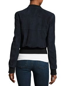 Theory Daryette S Benna Suede Bomber Jacket, Navy Blue