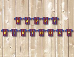 Barcelona Birthday Banner by CreamPopsDesign on Etsy Birthday Flags, Soccer Birthday, Happy Birthday Banners, Birthday Diy, Soccer Flags, Soccer Banner, Barcelona Soccer Party, Party Flags, Favor Tags