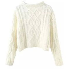 Tightrope Cable Rolled Neck Crop Jumper ( 23) ❤ liked on Polyvore featuring  tops 502444046
