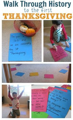 Thanksgiving history activity for kids - move along each major event from leaving England to that first Thanksgiving feast. All historical facts and great discussion questions are included in an attached document for your use.