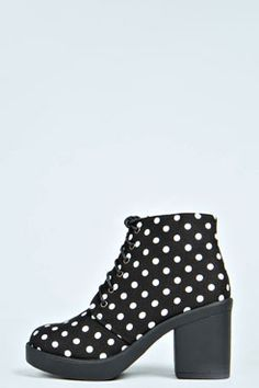 Laurie Polka Dot Print Lace Up Boots at boohoo.com
