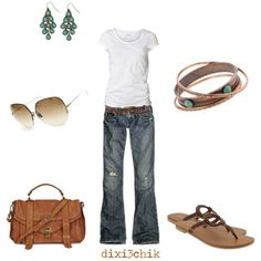 Jeans, a tshirt and sandals- my favorite!