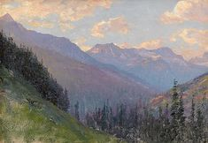 Great feeling of the vastness of the land. Artisf: WALTER LAUNT PALMER, (AMERICAN 1854-1932); Title: CANADIAN ROCKIES; Medium: Oil on Canvas.
