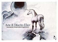 Unicornio bajo la luna, #blancoynegro, #tinta china #arte #dibujo