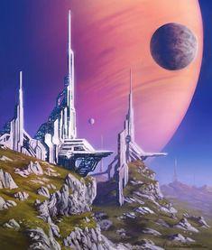 Structures On A Distant Moon, Anthony Pismarov Space Fantasy, Sci Fi Fantasy, Fantasy World, Futuristic City, Futuristic Architecture, Art Science Fiction, Arte Sci Fi, Sci Fi City, 70s Sci Fi Art