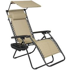 Best Choice Products Folding Zero Gravity Recliner Lounge Chair w/ Canopy Shade & Magazine Cup Holder (Tan), Beige Folding Lounge Chair, Patio Lounge Chairs, Patio Seating, Garden Chairs, Beach Chairs, Dining Chairs, Folding Canopy, Swivel Chair, Chair Cushions