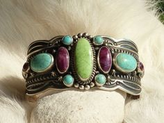 Native American Sterling Silver, Turquoise, Gaspeite, Spiny Oyster Cuff Bracelet by D. Gadmen Navajo Artist – Handmade in the state of New Mexico $545 (no longer available)
