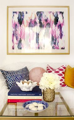Cozamia art, abstract blue and pink art, living room decor.