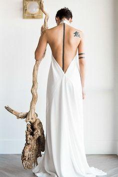 Designer Dolly Pearl sleek, modern gown at Grey Pearl Bridal Gallery in Las Vegas, NV Elegant Wedding Gowns, Designer Wedding Gowns, Wedding Dresses, Best Gowns, Bridal Gallery, Minimalist Dresses, Bridal Beauty, Minimalist Wedding, Bridal Headpieces