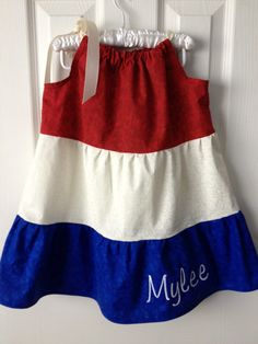 Americana / 4th of July Pillowcase Dress, Custom made with your childs name embroidered on it