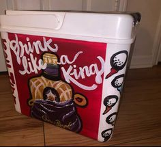 COOLERSbyU Painted Cooler Examples | Drink like a King Fraternity Formal | Tags: drinking, quote, fraternity formal, cooler Fraternity Formal, Fraternity Coolers, Painted Coolers, Cooler Painting, Painting Inspiration, Drinking, Quote, Tags, Quotation