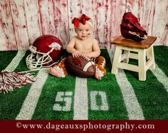 ©dageauxsphotography / please feel free to share or pin; but please do not crop out logo, do not copy, print, or download — nine month toddler photography / 9 month girl photography / football / Arkansas / toddler girl / Razorback