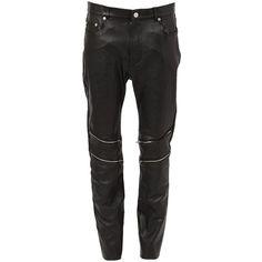 Saint Laurent zip detail lambskin trousers (8.895 DKK) ❤ liked on Polyvore featuring men's fashion, men's clothing, men's pants, men's casual pants, black, men's 5 pocket pants and mens elastic waistband pants