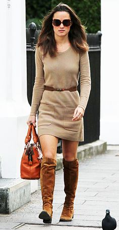 Pippa Middleton beat the fall chill in a French Connection sweater dress teamed with her Modalu tan bag and suede knee-high boots.