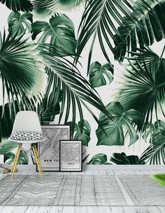 Tropical Jungle Leaves 7 Wallpaper from Interior Tropical, Tropical Home Decor, Tropical Houses, Palm Leaf Wallpaper, Tropical Wallpaper, Wallpaper Jungle, Palm Tree Bathroom, Deco Jungle, Wall Design
