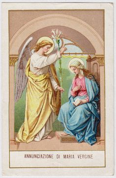 Vintage holy card depicting the Annunciation