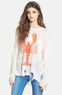 im craving this Wildfox 'Lobster Lenon' Destroyed Sweater available at #Nordstrom...