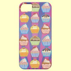iPhone 5 case featuring design with lots of vector art cupcakes on pretty purple and blue stripes background.