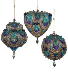 Kurt Adler Aqua Satin Fabric with Gold Purple and Green Glitters Tornasol Beads with Rayon Cord Hanging Ornaments: Ball Dome and Heart Set of 3 -- To learn more, browse through photo web link. (This is an affiliate link). Purple Christmas Ornaments, Peacock Christmas Tree, Peacock Ornaments, Glitter Ornaments, Beaded Ornaments, Hanging Ornaments, Christmas Themes, Glass Ornaments, Christmas Tree Decorations