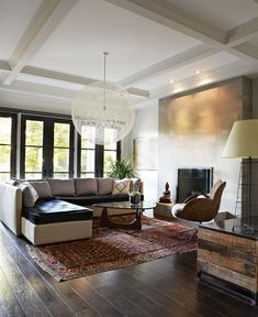 Photo Gallery: Family Rooms | House & Home oriental rug with modern,  leather cushion on sectional