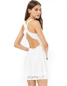 White Sleeveless Backless Criss Cross Lace Dress 23.59 Color :White Material :Polyester Style :Casual Neckline :Spaghetti Strap Sleeve Length :Sleeveless Silhouette :Pleated Dresses Length :Short Pattern Type :Plain Bust(cm) :S:82cm M:86cm L:90cm Waist Size(cm) :S:62cm M:66cm L:70cm Length (cm) :S:79cm M:80cm L:81cm Size Available :S,M,L