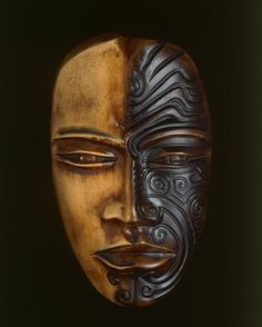 New Zealand (Maori Mask) This would be a great addition to the Oceania gift basket because it is traditional art that an important person could hang on their wall to show off the rich culture of New Zealand. African Masks, African Art, Art Maori, Ceramic Mask, Maori Designs, Art Sculpture, Metal Sculptures, Abstract Sculpture, Bronze Sculpture