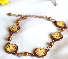 The Music Lesson Bracelet - one of my handmade pieces, vintage style, made of antiquated brass and copper elements with glass cabochons representing musical notes Vintage Style, Vintage Fashion, Copper, Brass, Notes, Bracelets, Music, Handmade, Jewelry