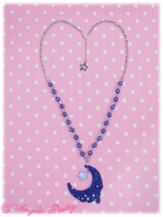 Melty Moon Necklace in Navy from Angelic Pretty - Lolita Desu