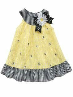 Rare Editions Girls Yellow Seersucker Bumble Bee Daisy Summer Dress 5 6 See other ideas and pictures from the category menu…. Kids Dress Wear, Toddler Girl Outfits, Toddler Girl Dresses, Little Girl Dresses, Frocks For Girls, Kids Outfits, Toddler Girls, Kids Girls, Baby Dress Design
