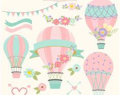 Digital Hot Air Balloon Clip Art Shabby Floral by HoneyClipArt