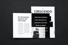 Wie ist es möglich ein jährlich erscheinendes Magazin für die Südwestdeutsche Philharmonie zu etablieren, das sowohl inhaltlich flexibel, als auch für ein eher exquisites Publikum angenehm zu lesen ist? »Crescendo« versucht diese Kriterien zu erfüllen, indem spezifische Inhalte in separaten Booklets präsentiert werden. Beim Durchblättern des Magazins erhalten die Leser als erstes eine Kalenderübersicht von [...]