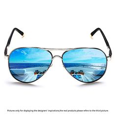40ca5948a0c ROCKNIGHT Polarized Aviator Sunglasses for Men Women Meta... Get ready for  the summer