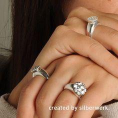 Ringe mit austauschbaren Tops: http://ow.ly/SdwK30aCgAU  #silberwerk #ring #silber  #beauty #style  #zirkonia