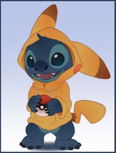 Stitch as Pikachu -- Oh man, are those pokemon in for a big surprise! Stitch And Pikachu, Lilo Y Stitch, Cute Stitch, Stitch Cartoon, Pikachu Pikachu, Pikachu Suit, Cute Disney Drawings, Cute Drawings, Disney Kunst