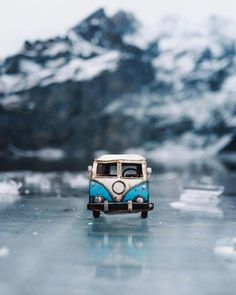 Artist Kim Leuenberger takes her miniature cars everywhere and photographs them to seem like large scale cars.