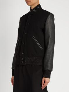 Wool-blend and leather teddy jacket | Saint Laurent | MATCHESFASHION.COM