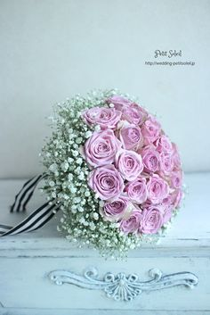 かすみ草とバラのブーケ Gypsophila rose bouquet