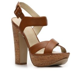 Bandolino Ineed Sandal - Cognac Leather ($50) ❤ liked on Polyvore