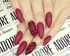 Red Matte Stiletto Nails with Crystals