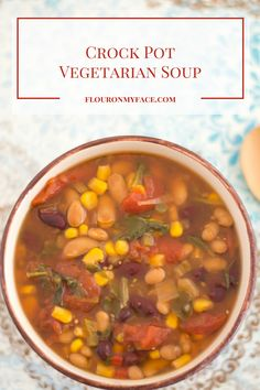 This Crock Pot Vegetarian Soup recipe is one crock pot slow cooker recipe you can literally leave slow cooking for hours. Busy mom's - fix it and forget it!