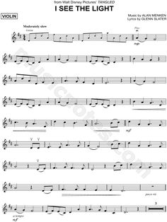 """""""I See the Light"""" from 'Tangled' Sheet Music (Violin Solo) Alto Sax Sheet Music, Viola Sheet Music, Free Violin Sheet Music, Saxophone Music, Piano Music, Music Sheets, Guitar Songs, Guitar Chords, Disney Sheet Music"""