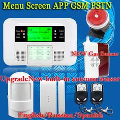 English Russian Spanish Voice Wireless GSM PSTN Gas Sensor Alarm system Home security Alarm systems LCD Keyboard Free Shipping