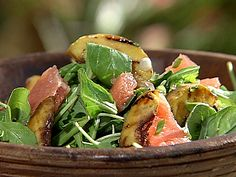 Grilled Peach Salad with Grapefruit Vinaigrette recipe from Danny Boome via Food Network