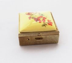 Vintage 1950s Yellow Floral Design Pill Box vintage by WellOwlBee, $15.00