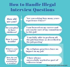 13 illegal interview questions an employer cannot ask job candidates. Find out how to answer illegal job interview questions. Handle inappropriate interview questions like a pro. Job Interview Answers, Job Interview Preparation, Interview Skills, Job Interview Tips, Job Interviews, Interview Nerves, Interview Questions And Answers, Interview Outfits, Job Resume