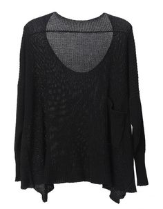 Vintage Bat sleeve Solid sweater Black #SheInside