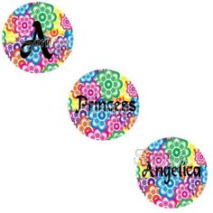 Flower Power Brights Themed EDITABLE PDF Bottle Cap Images - 4x6 Sheet - 1 inch circle